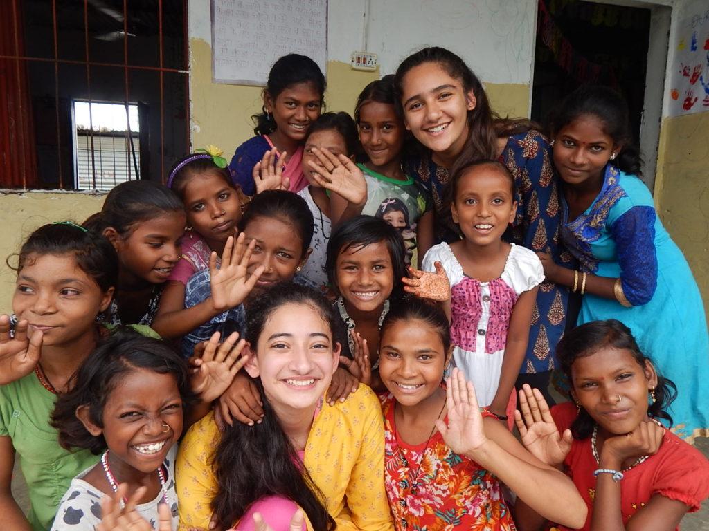 Volunteers with kids at Nizamuddin
