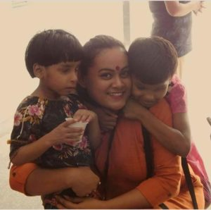 Barkha with her favourite kiddos
